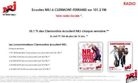 56 000 auditeurs pour NRJ dans le Puy de Dôme, première radio locale à Clermont-Fd!